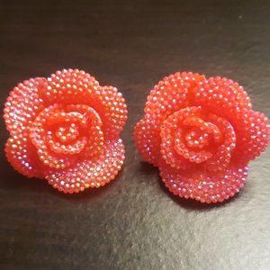 Pink/orange rose earrings